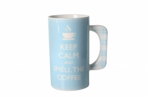 Pastelowy kubek porcelanowy Keep Calm And Smell Coffee